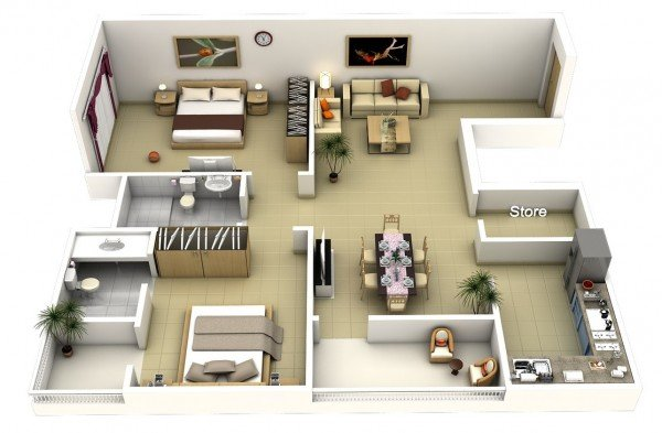20 interesting two bedroom apartment plans home design lover for One and two bedroom apartments