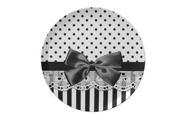 Black And White Victorian Stripes With Bow Party Plate