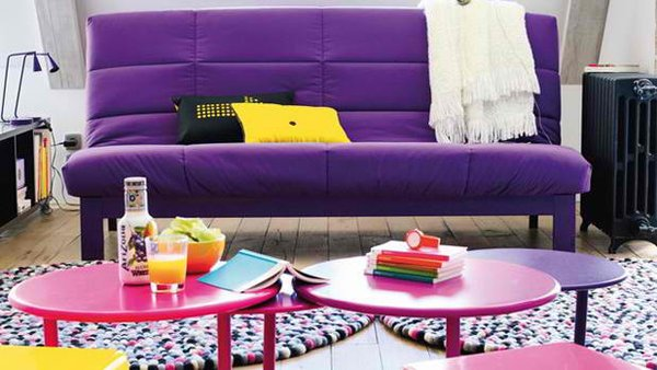 bright-colored sofa