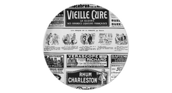 Pulicidad, old, black and white newspaper party plate