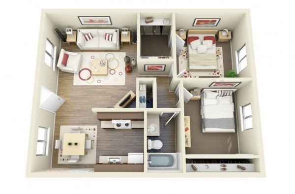 Interesting TwoBedroom Apartment Plans Home Design Lover - Simple 2 bedroom house design