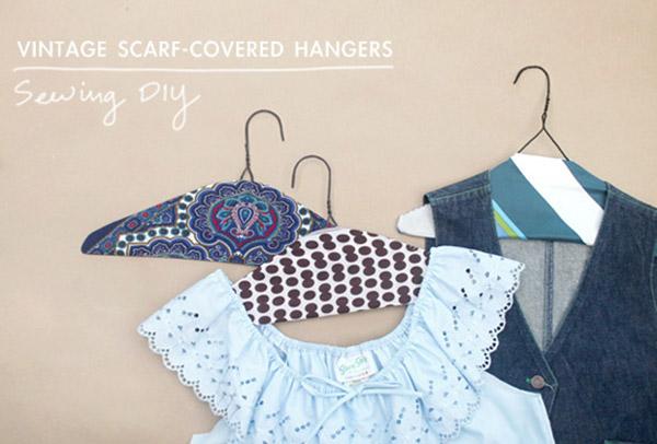 DIY | Vintage Scarf Covered Hangers
