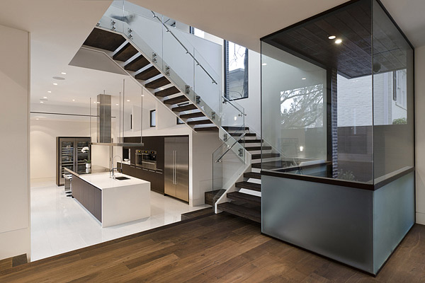 wood glass staircase