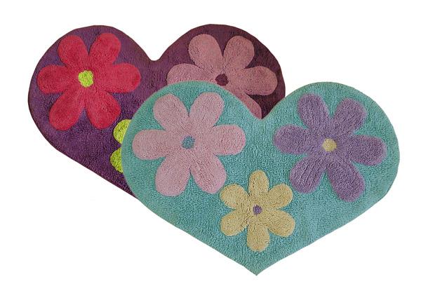 heart-shape embossed bathroom floor rug