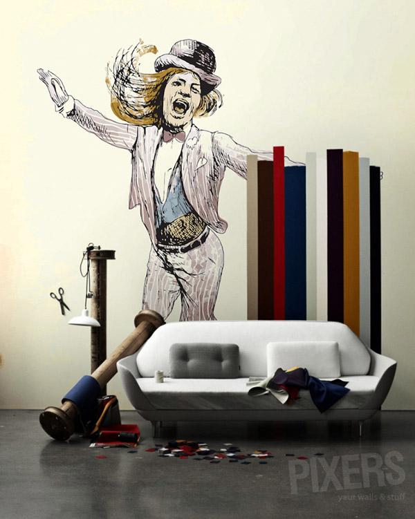 living room wall mural