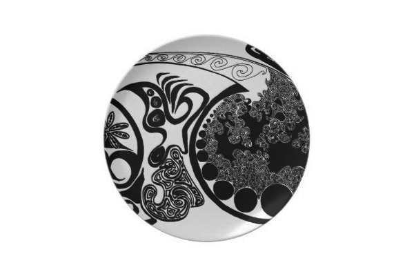 Black White Spyrites Print Party Plate