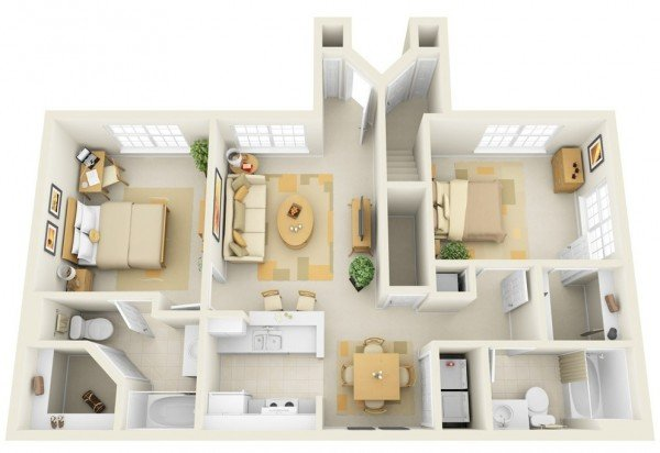 20 interesting two-bedroom apartment plans | home design lover