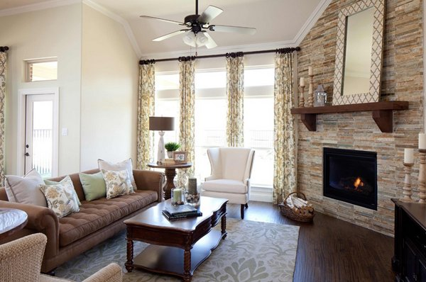 20 appealing corner fireplace in the living room home design lover for Awkward living room layout with corner fireplace