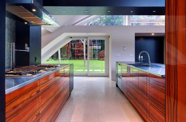 wooden kitchen stainless steel countertop