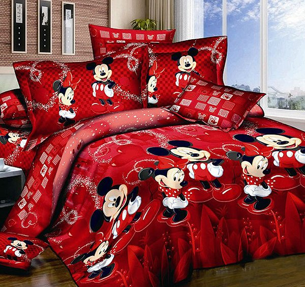 Red Mickey and Minnie Mouse Bedding Set