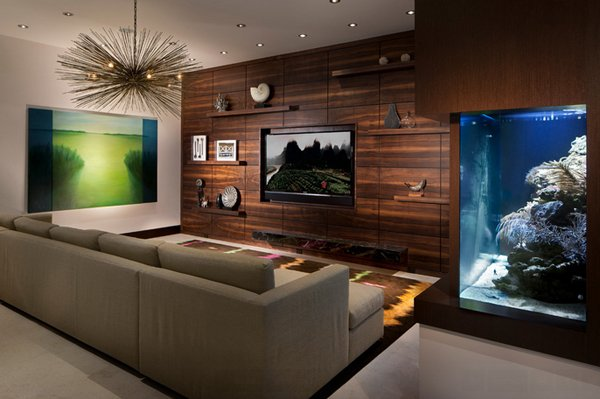 22 contemporary living room designs with fish tanks home. Black Bedroom Furniture Sets. Home Design Ideas