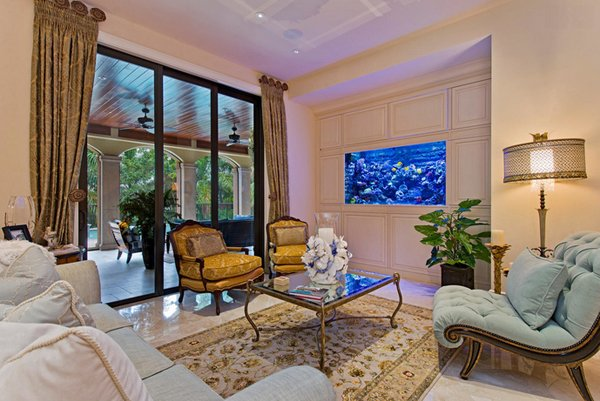 22 contemporary living room designs with fish tanks home design lover - Decorative fish tanks for living rooms ...