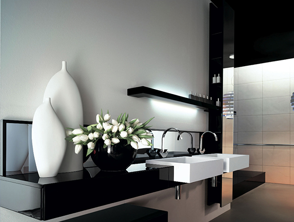 black white bathroom vanity