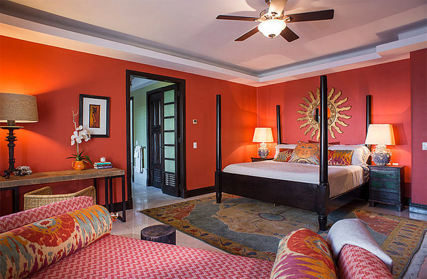 orange tropical bedroom