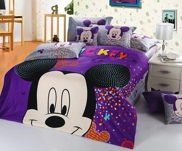 New 2013 Mickey Mouse Bedding Set 4pc Queen King Purple