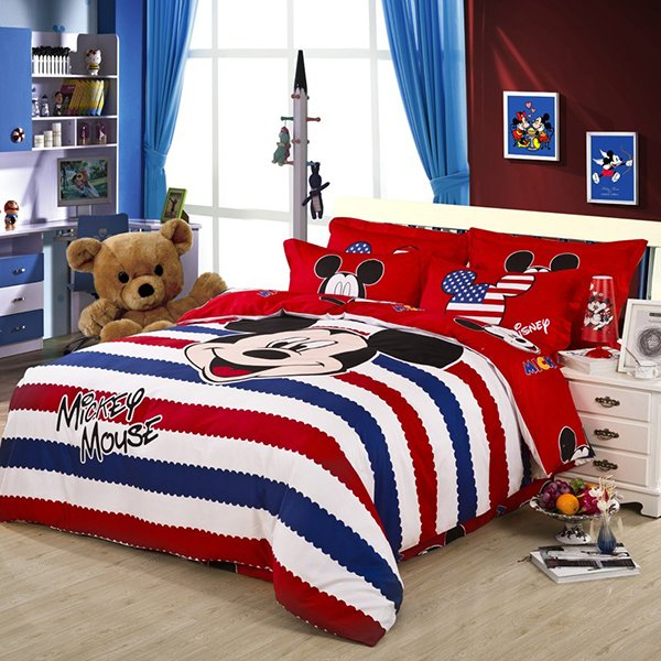 America Style Red Striped Mickey Mouse Duvet Cover Bedding Sets