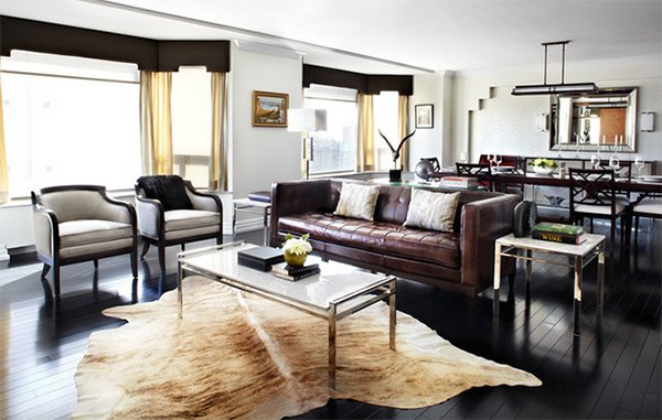 browns and grays. Lisa Petrole Photography. A cowhide rug perfectly fits a living  room ...