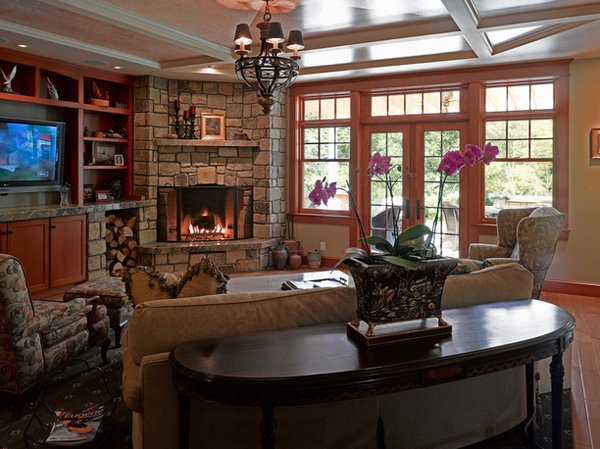 title | Living Room With Corner Fireplace