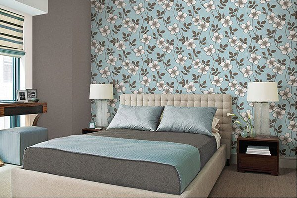 Blue Blossom Bedroom Background