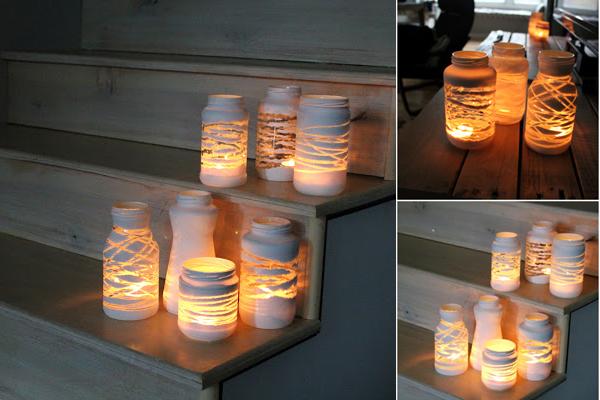 DIY Yarn Wrapped Painted Jars