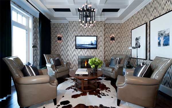 wallpapered living space