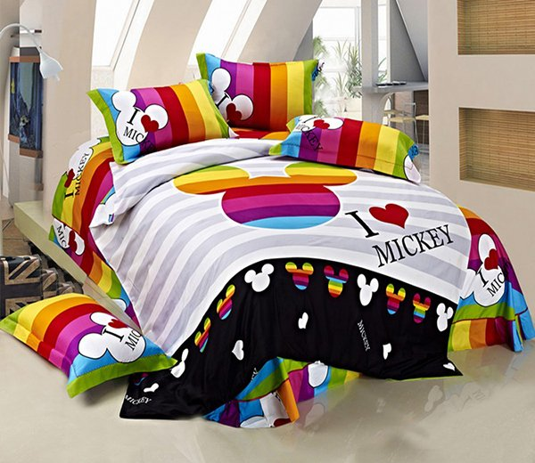 Striped Mickey Mouse Head Queen Size Bedding