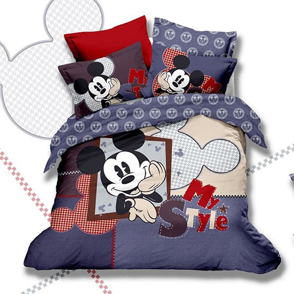 Mickey Mouse Kids Print Bedding Set 5PC