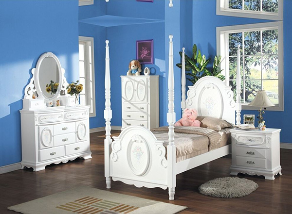 5 PC Flora Collection White Finish Wood Floral Pattern Design Twin Bedroom Set
