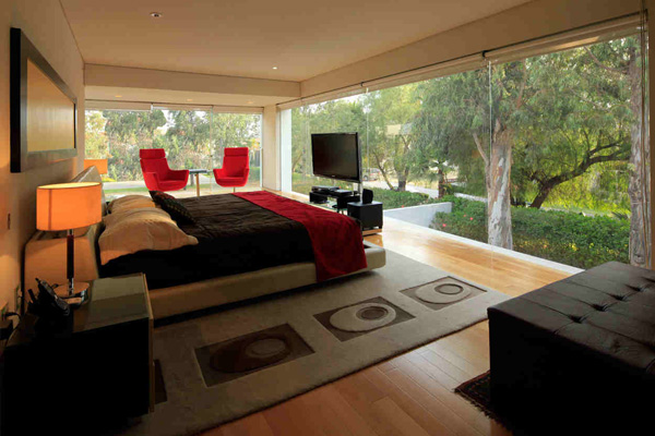 glass wall bedroom