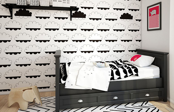 Black and White Wallpaper bedroom idea