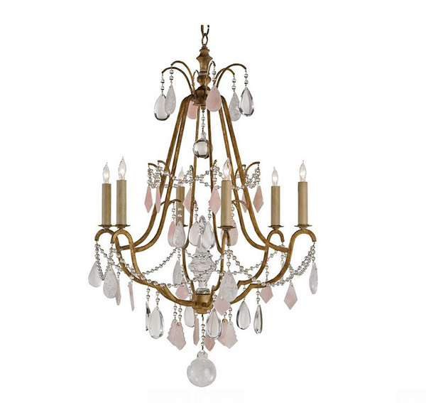 Antique Brass Crystal 6 Light Chandelier