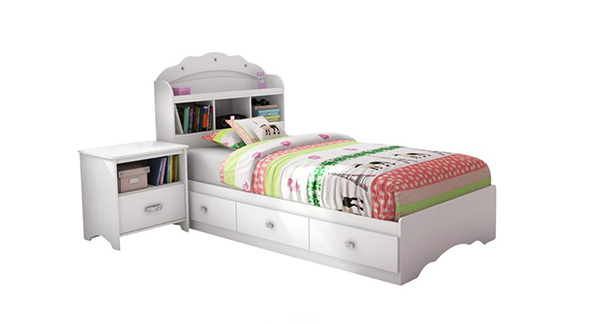 Sabrina 2 Piece Twin Bookcase Bedroom Set in Pure White