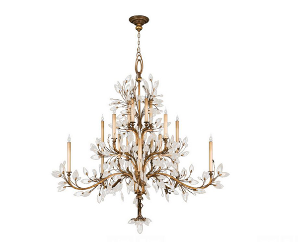 Crystal Laurel Gold Chandelier