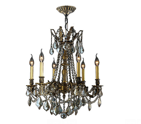 Bronze Crystal Cast Brass Chandelier