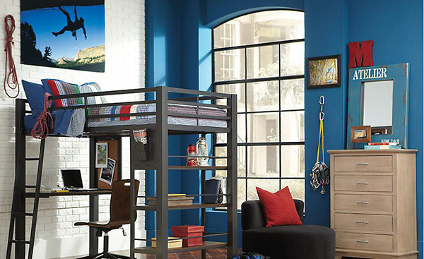Louie Gray 3 Pc Twin Loft Bedroom