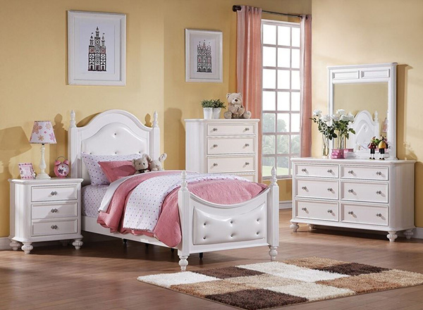 5 Pc Athena Collection White Finish Wood Button Tufted Padded Twin Bedroom Set