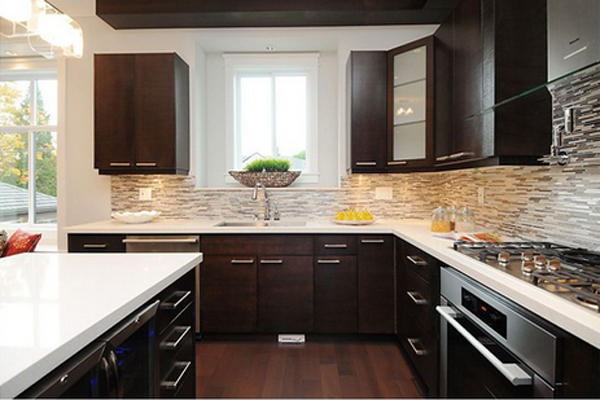Kitchen With Black Counters Dark Cabnets