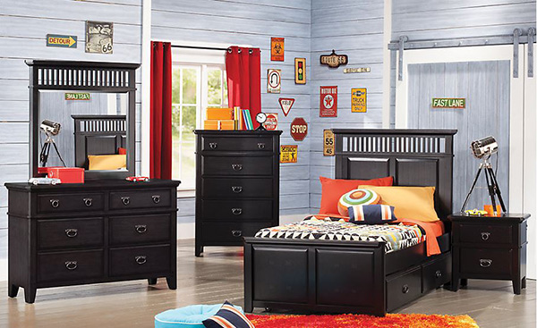 Mission Black 5 Pc Twin Panel Bedroom