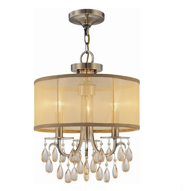 3-Lights Antique Silk Shade