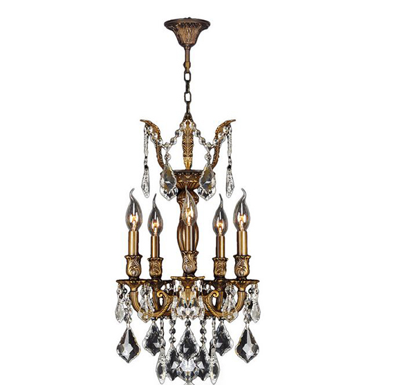 5 Light Antique Crystal Chandelier