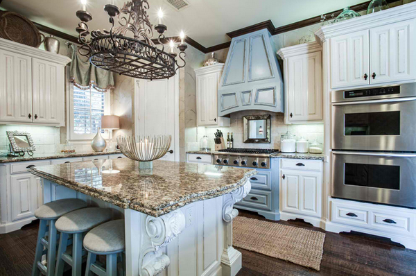 blue accent cabinet - 20 Amazing Antique Kitchen Cabinets Home Design Lover