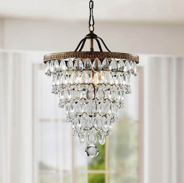 Antique Copper Crystal Chandelier