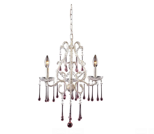 Chandelier in Antique White and Rose Crystal