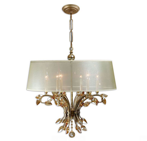 Chandelier w/ Burnished Gold Metal