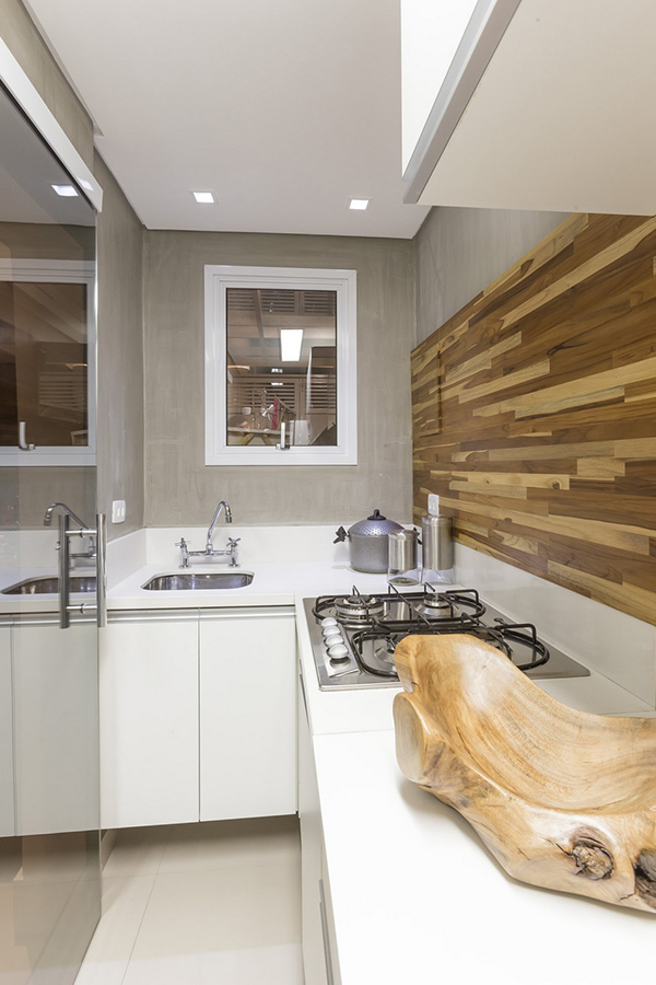 creative wooden backsplash
