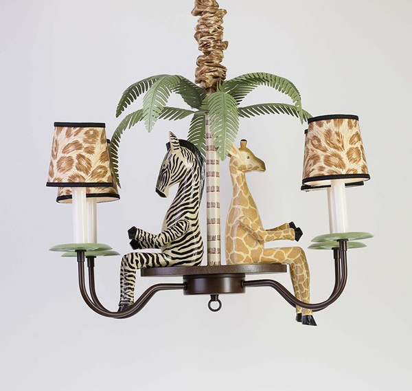 Four Arm Chandelier and Shades