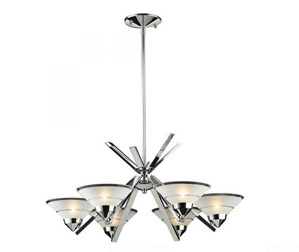 19. Six Light Clear Glass Up Chandelier