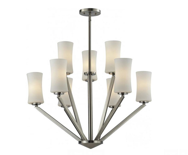 Nickel Opal Shade Chandelier