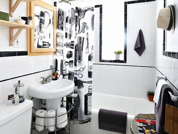 Barber Shop Style Bathroom