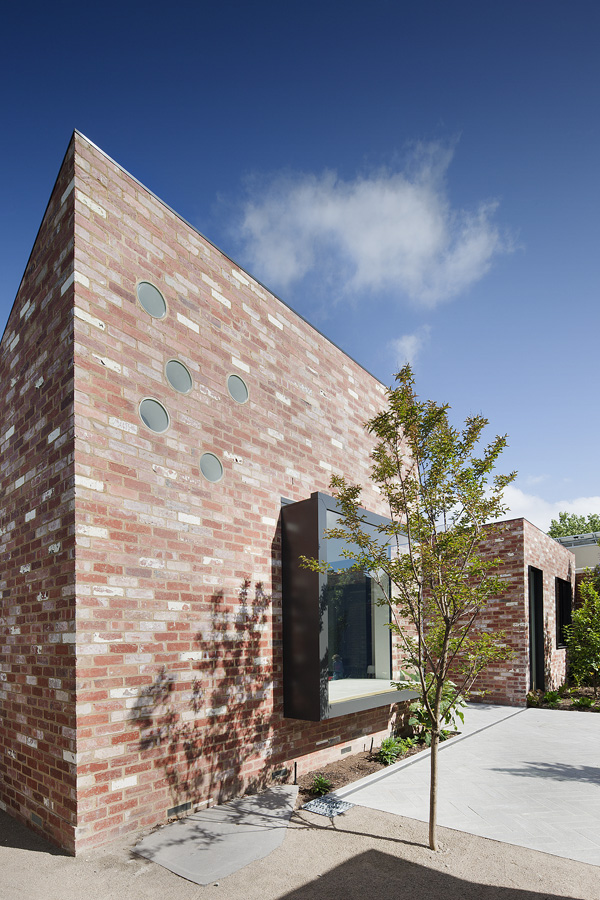 brick wall glass window